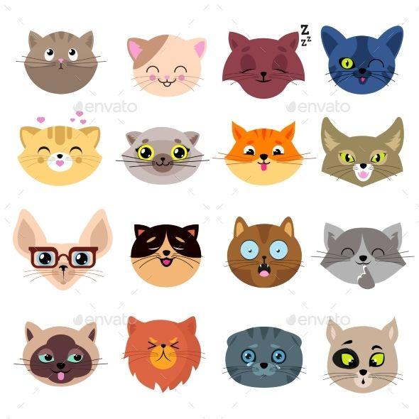 Fun Cartoon Cat Faces Cute Kitten Portraits Cat Face Drawing Cats Illustration Cartoon Cat