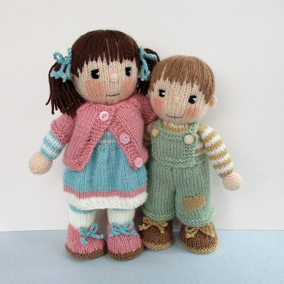 Penny and Patch - 10 - 12 (26cm - 30cm) - doll knitting pattern - - PDF instant download #instructionstodollpatterns