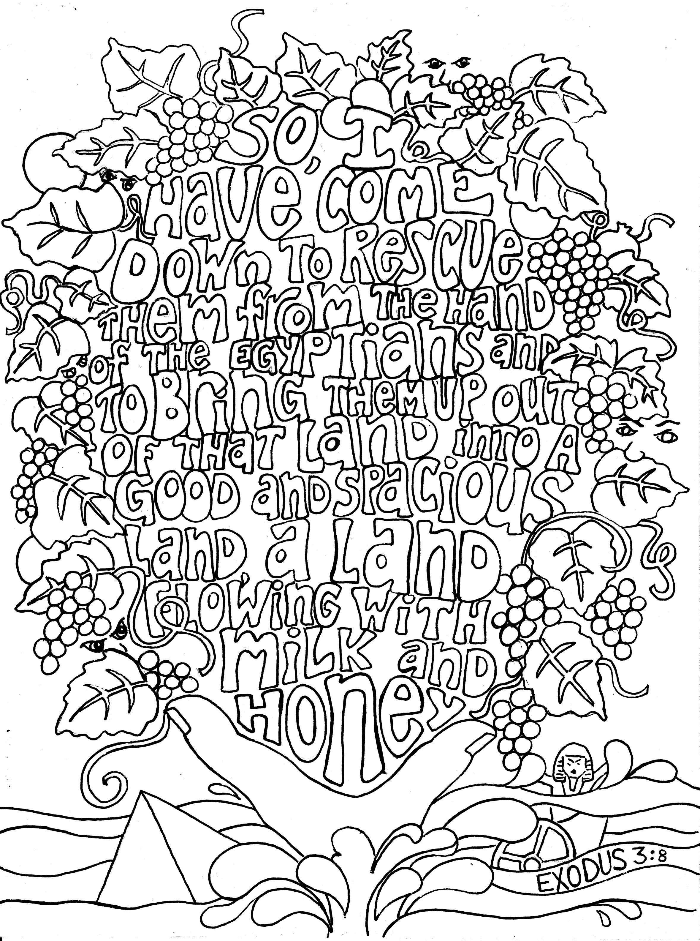 Free coloring pages bible - Exodus 3 8 Adult Colouring In Sheets Of Bible Verses Link Is Courtesy Of A Google