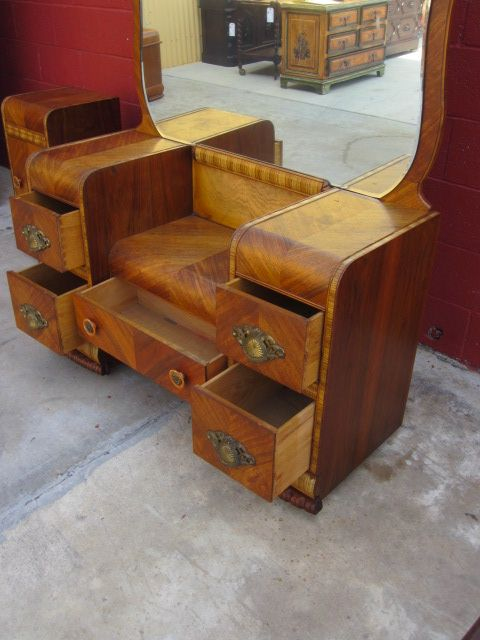 American Vanity Dresser Art Deco Waterfall Bedroom Furniture Antique