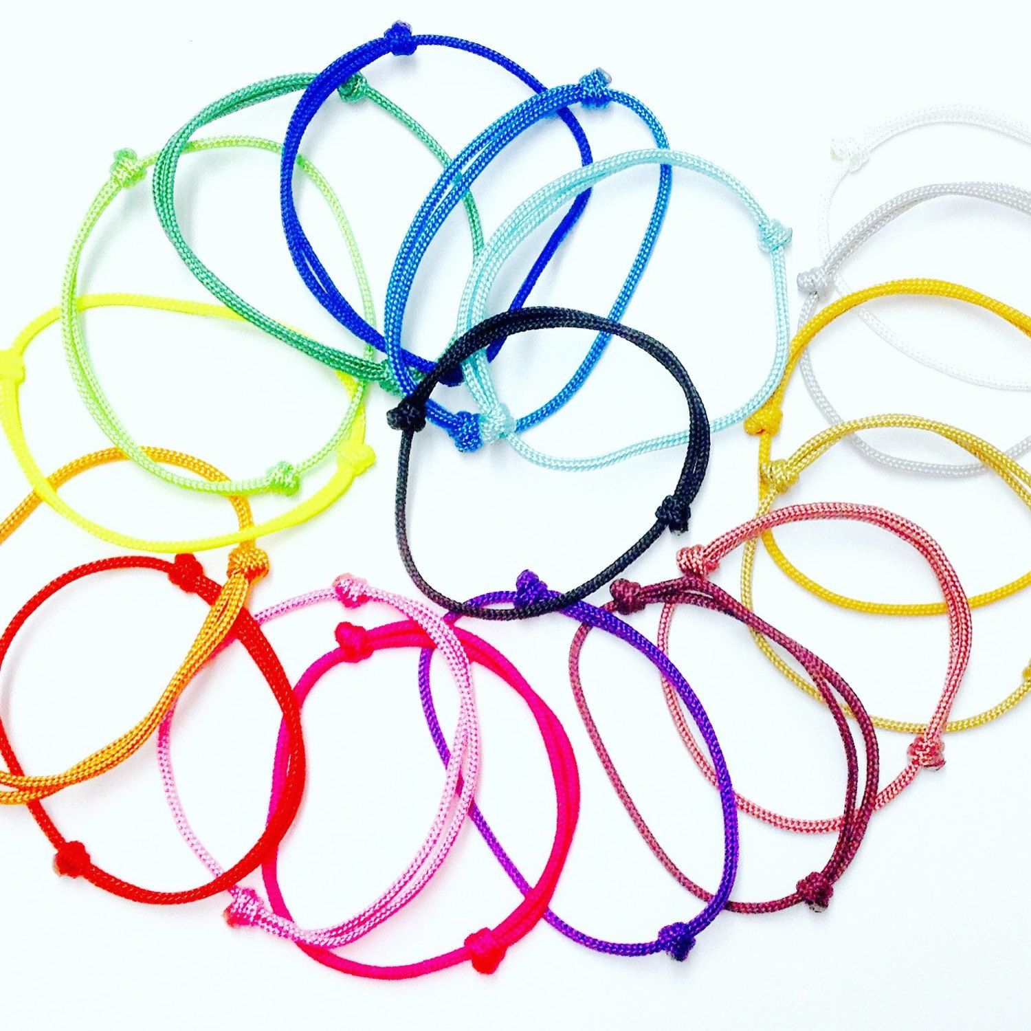 New String Bracelets!!! Made withb Paracord 95 in 18 different colors and 15 different sizes! Get the color you want!