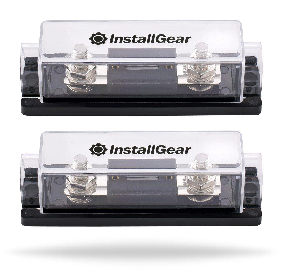 Installgear 0 2 4 Gauge Ga Anl Fuse Holder 100 Amp Fuses Audio Box Pack