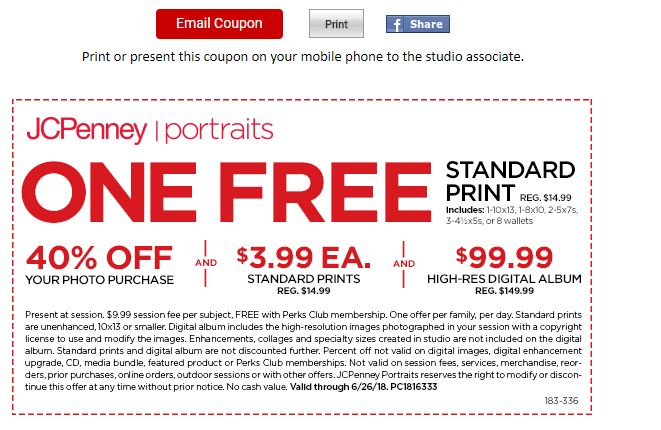 jcpenney portraits : free 10x13 standard print + 40% off coupon ...