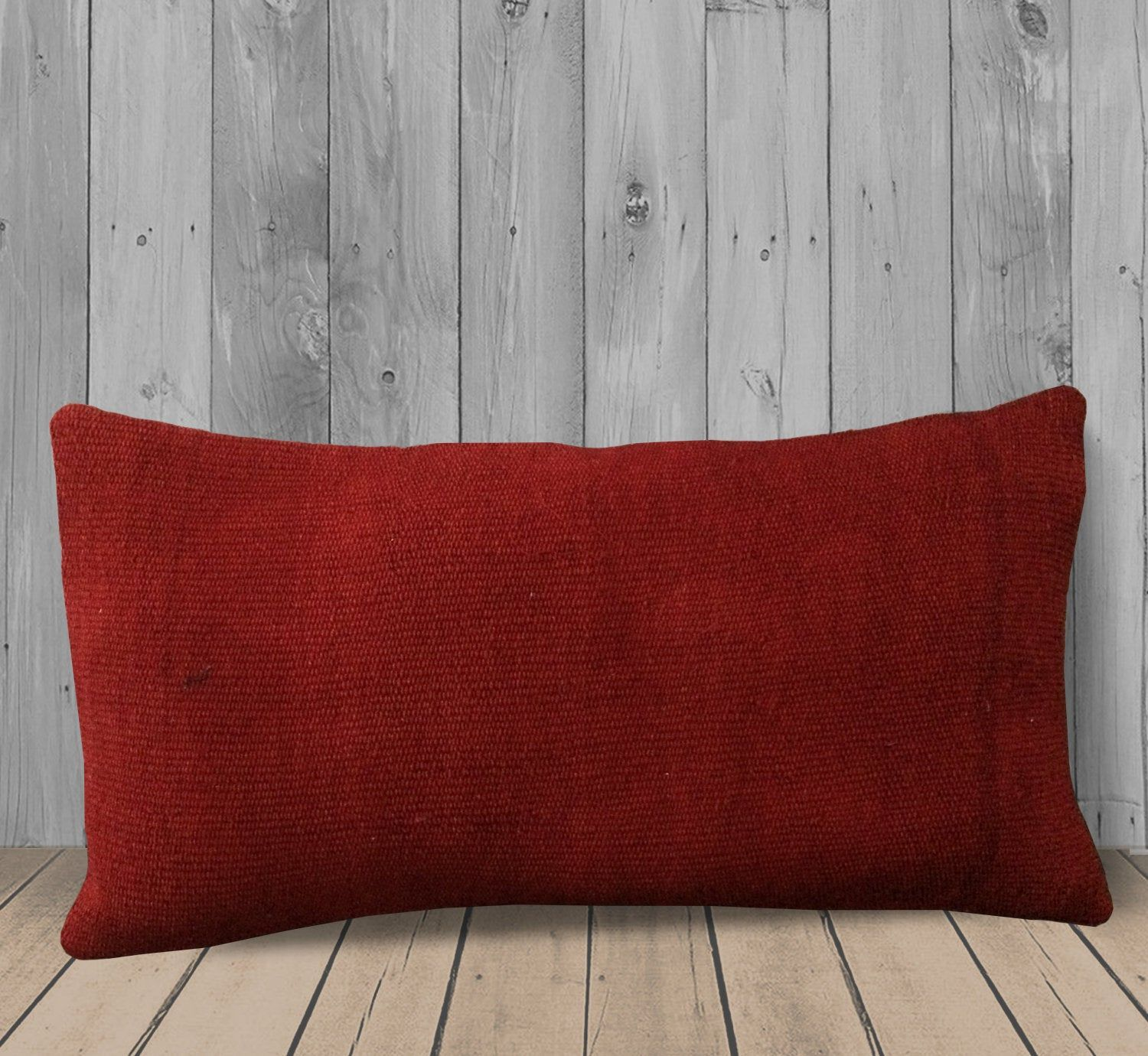 Dark Red Solid Long Lumbar Pillow Cover 12x31 Handmade Kilim
