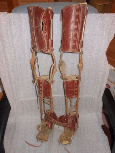 Vintage Medical Device Kafo Child Polio Leather Steel Leg
