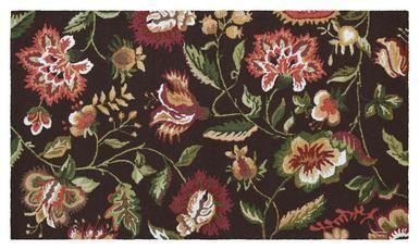 Rug Jacobean Floral Flowers 5x3 Brown Brown/Beige/Tan 100% Yarns New Hand JK-436