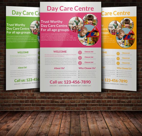 Daycare Flyer Templates Flyer Template Template And Psd Templates - Daycare brochure template
