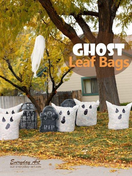 Everyday Art Outdoor Halloween Decor ghost leaf bags Fall - outdoor ghosts halloween decorations