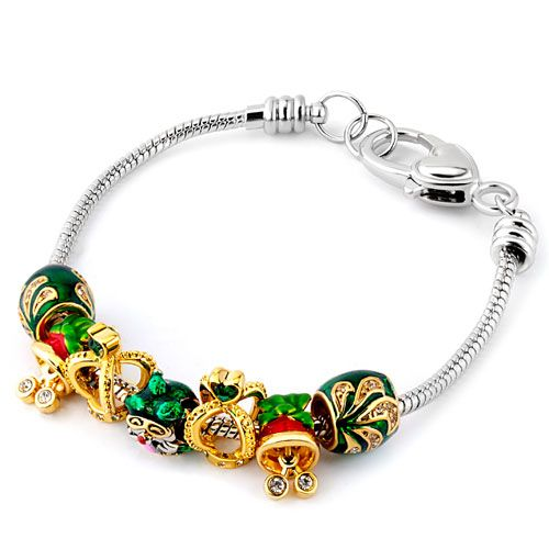 Charms Beads - mom green crystal crown hat santa clause heart love beaded bracelet fit all brands Image.