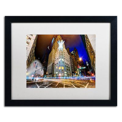 "Trademark Art 'Christmas in New York' by David Ayash Framed Photographic Print Size: 16"" H x 20"" W x 0.5"" D"