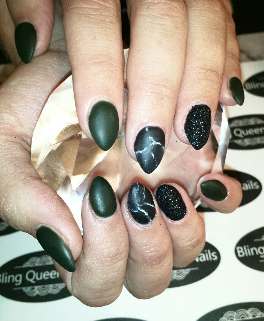 Matte dark green and marbled black with sugar nail | Bling Queen ...