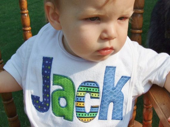 Personalized Baby Bib Appliqued in blues by TriedAndTrueDesigns, $14.00