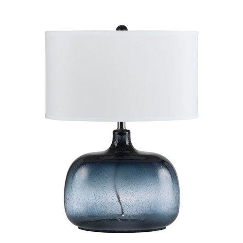 Cal Lighting Christi Navy Blue Glass Table Lamp | Glass table ...