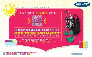 Old Navy Score A Free Swimsuit From Crowdtap Old Navy Free Printable Coupons Navy Bathing Suit