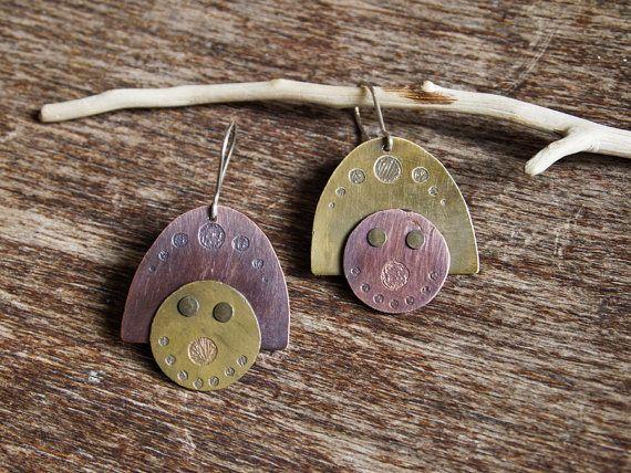 Mismatched earrings - mixed metal earrings - brass and copper jewelry - modern rustic earrings - 925 silver ear wires