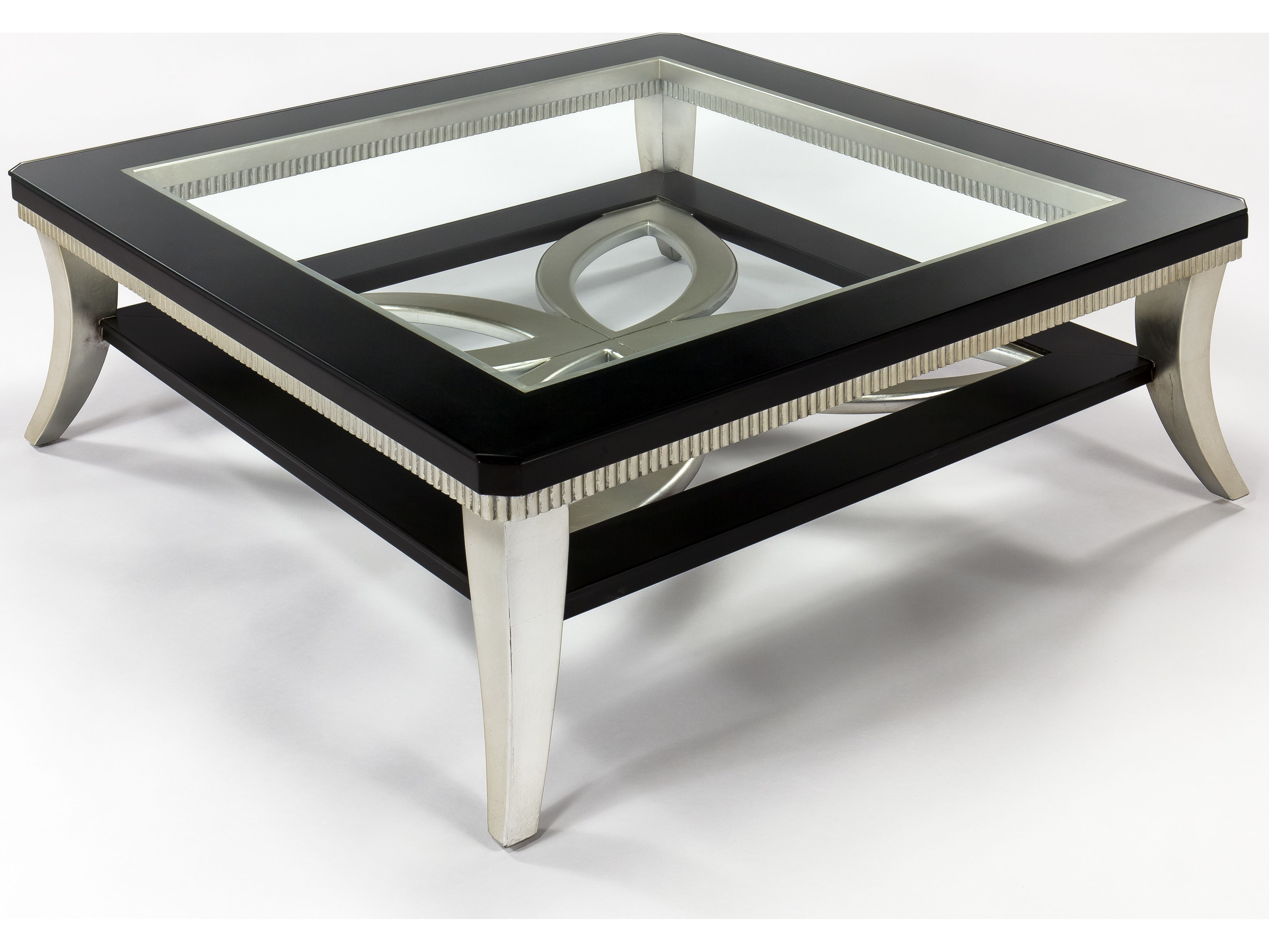 Artmax 42 x 16 5 Square Black Espresso & Silver Leaf Coffee Table