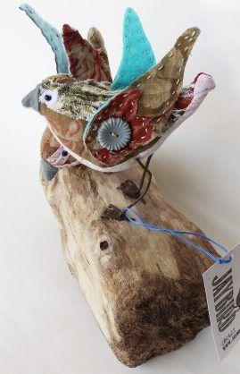 French Flower Birds on Driftwood 01 by JayBird Art