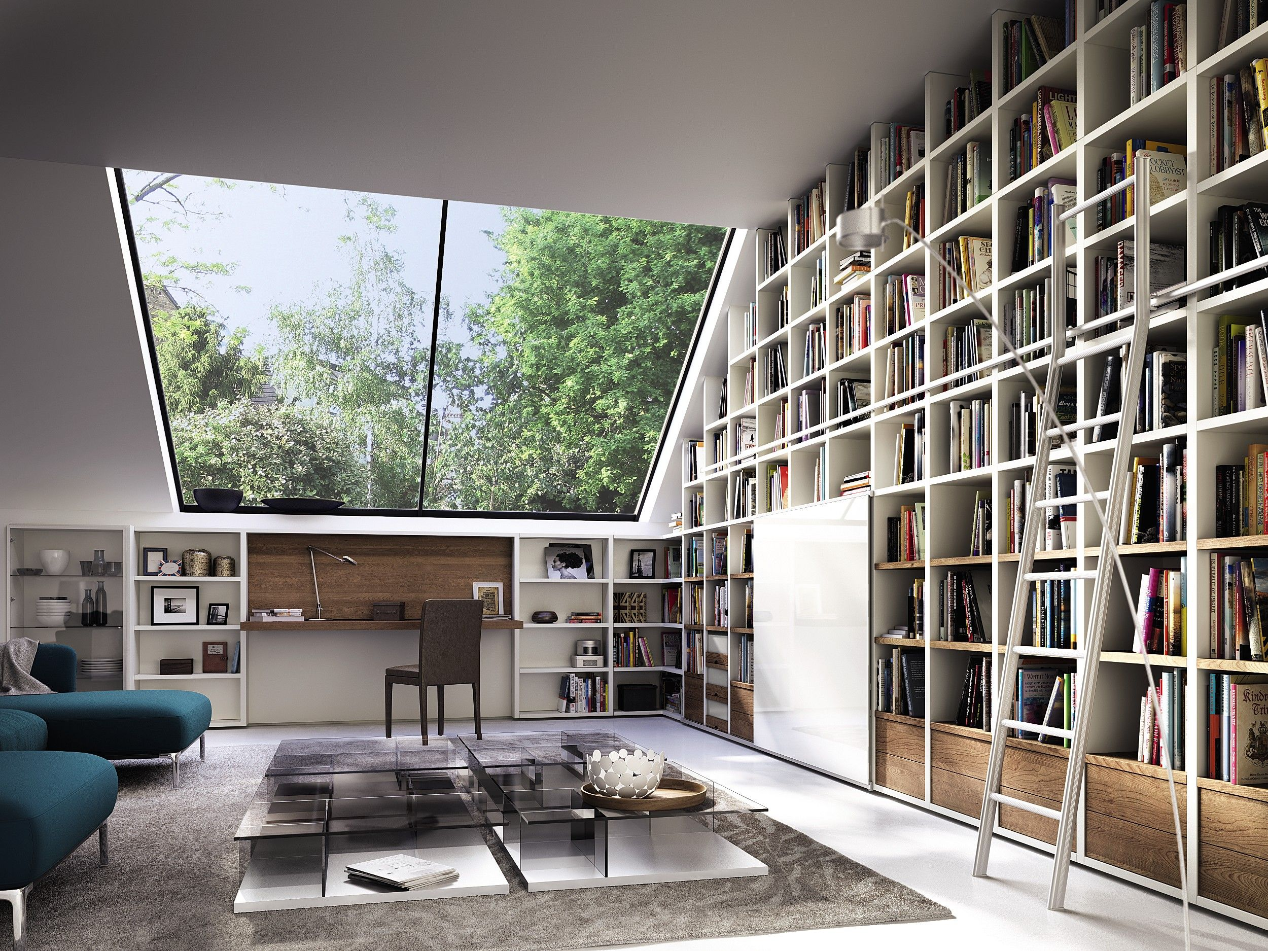 """One of the strengths of Huelsta's """"Mega-Design"""" is its flexibility! Innovative functions, new options, and attractive finishes leave plenty of scope for individual combinations. This allows you to add your own unmistakable style to this living room, shelving, and library system (capable of housing audiovisual equipment)."""