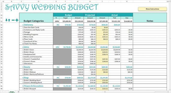 Savvy Wedding Budget - Turquoise - Wedding Budget Planner Excel - Wedding Budget Excel Spreadsheet