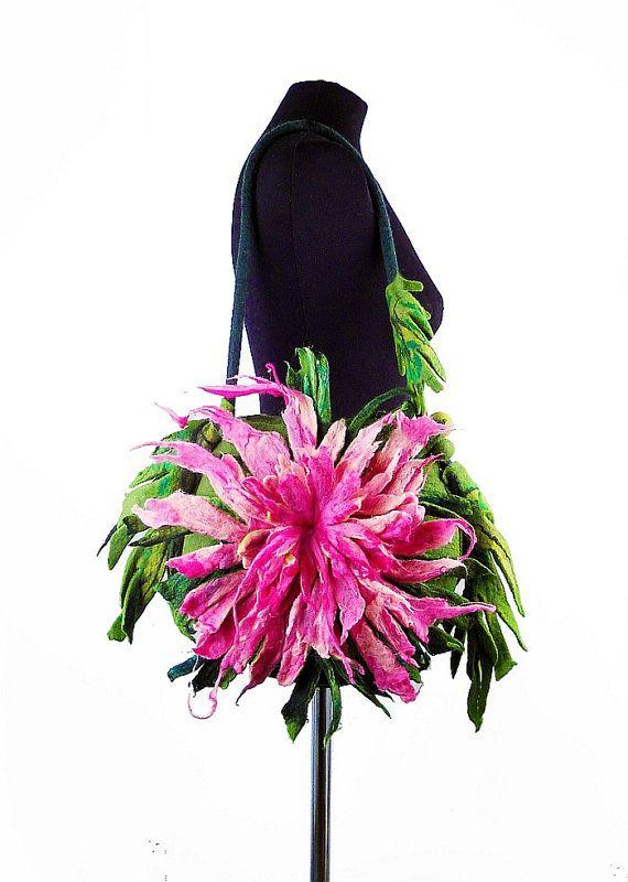Felted Bag THISTLE Handbag Art Purse Pink Rose Olive by filcant, $189,00