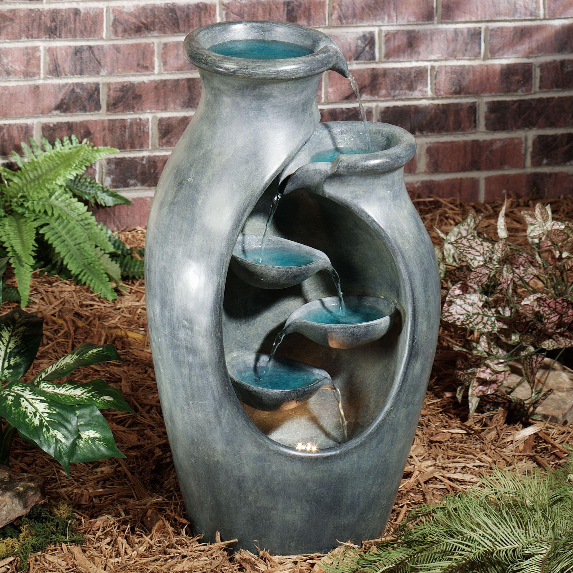Quiet Splendor Lighted Indoor Outdoor Water Fountain