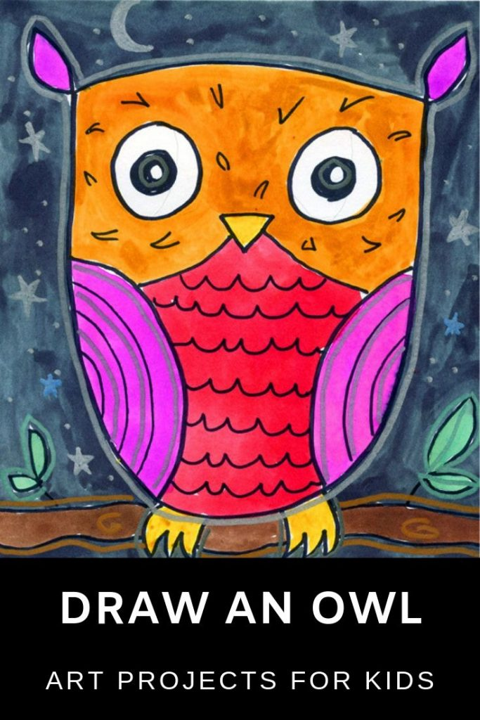 How to Draw a Simple Owl · Art Projects for Kids