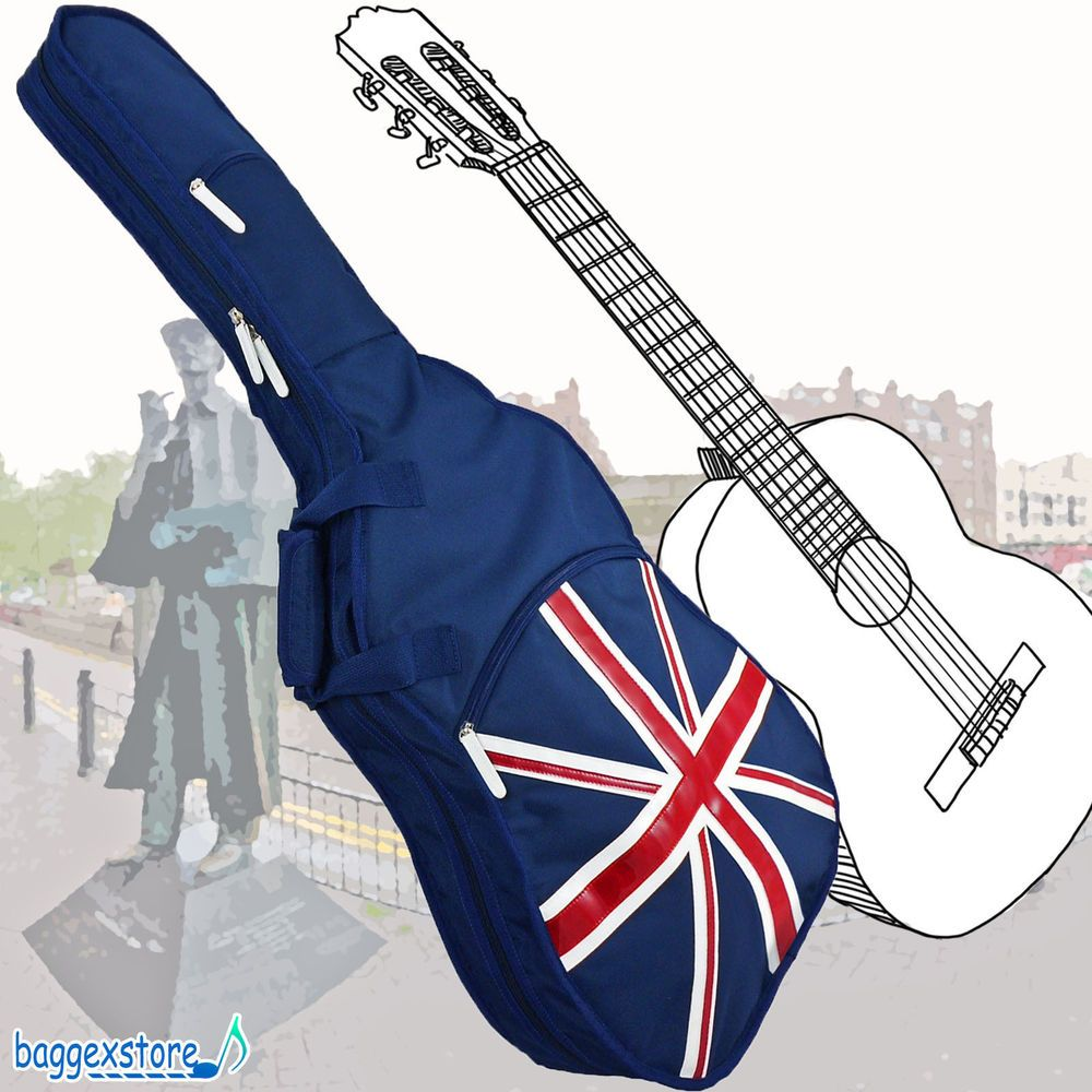 Uk Flag Union Jack Classical Guitar Padded Gig Bag 2 Pockets 2 Shoulder Straps Uk Flag Union Jack Guitar Bag