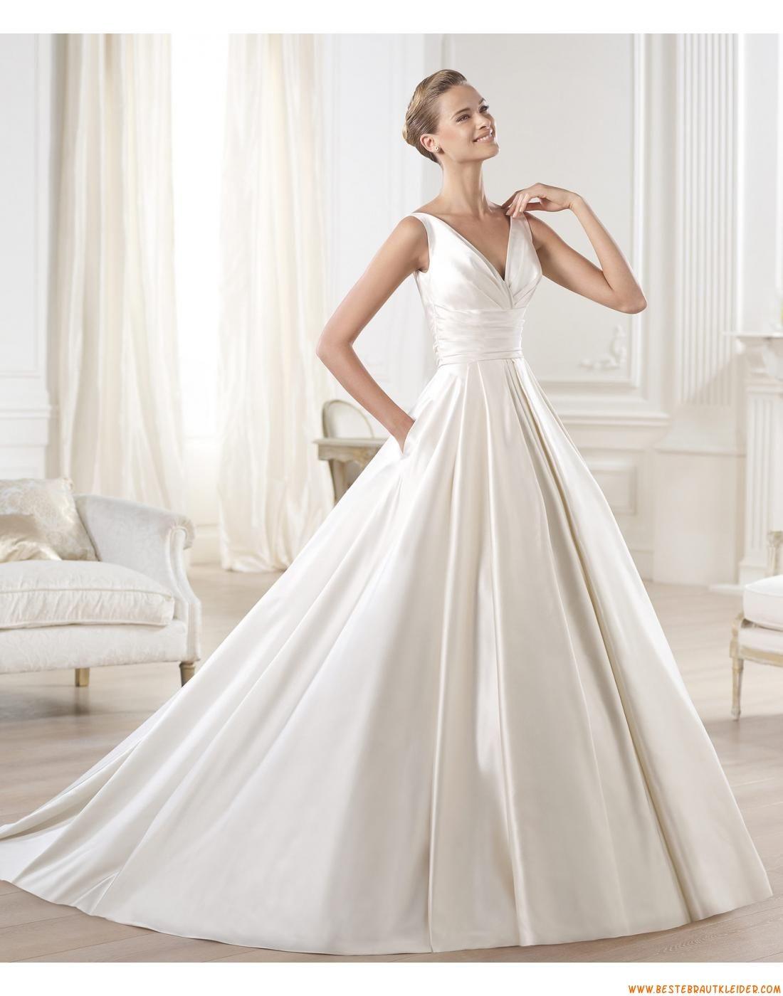 V-ausschnitt Schlichte Lange Brautkleider aus Taft mit Schleppe ...