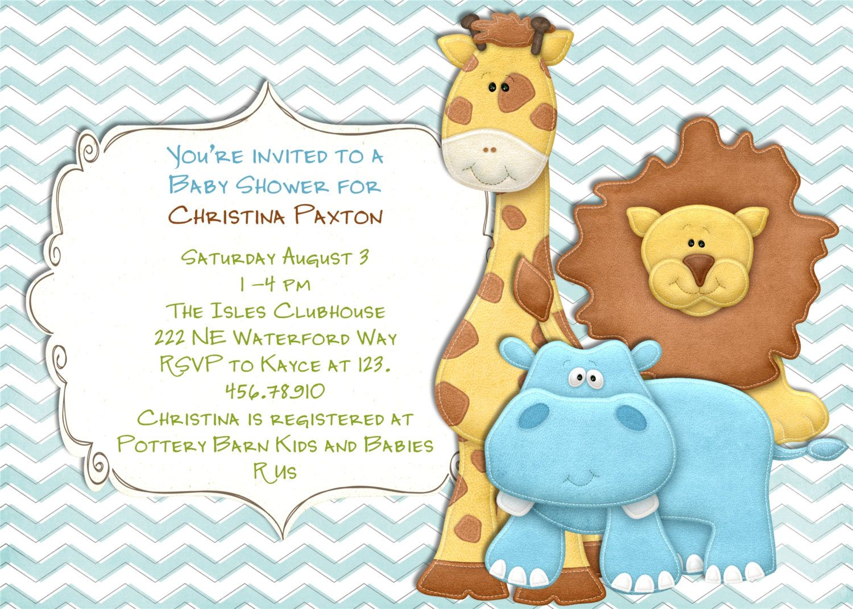 Mod Jungle Animal Baby Shower Invitation Chevron Blue