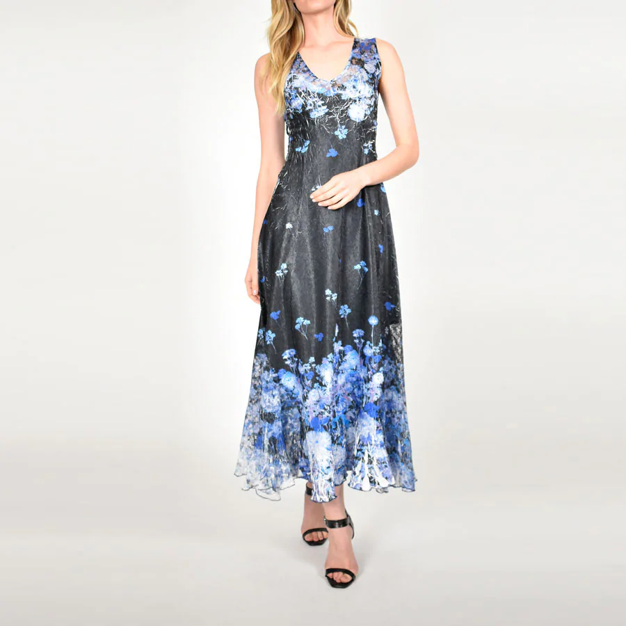 Komarov Azure Garden Gown With Lace Up Back Pleated Maxi Dress Gowns Printed Maxi Dress [ 900 x 900 Pixel ]