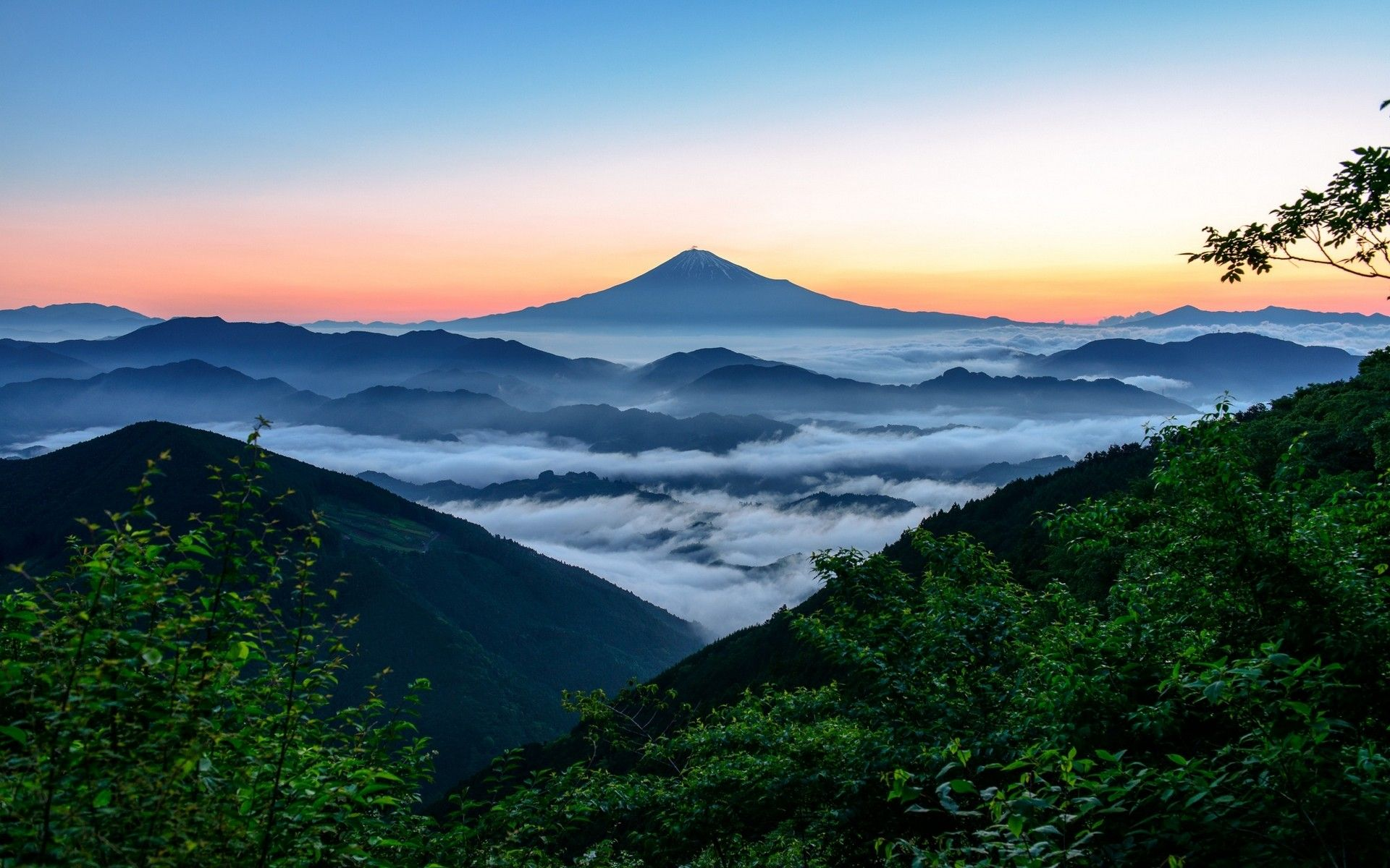 Nature Landscape Mount Fuji Japan Sunrise Forest Mountain