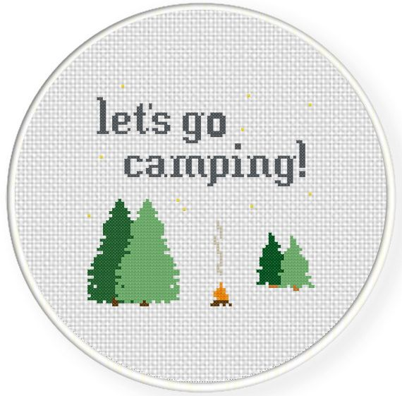 Free Lets Go Camping Cross Stitch Pattern Camping Pinterest