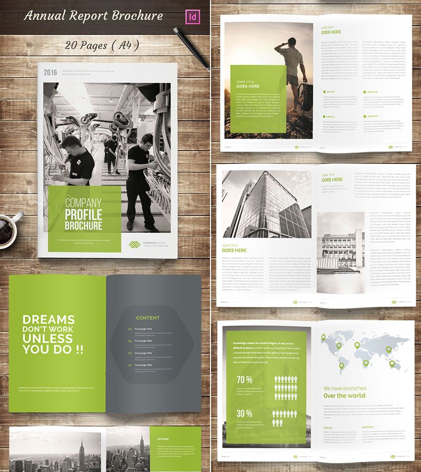 Annual Report InDesign Brochure Template Design Building A Brand - Indesign brochure template