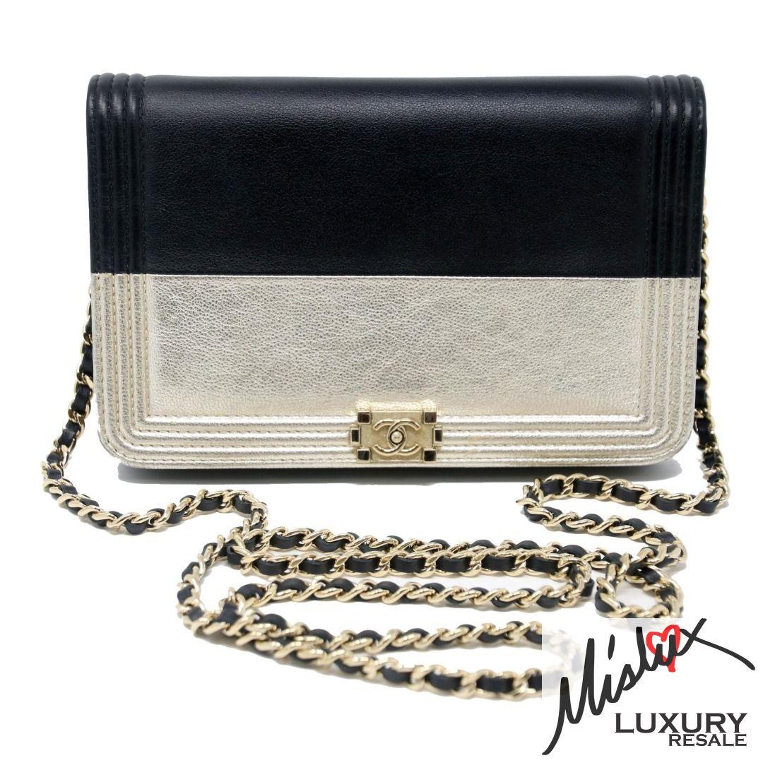 Chanel Boy Wallet On Chain Champagne Quilted Flap 14k Black Lambskin Cross Body Instafashion Losangeles Luxury Chanel Boy Wallet Luxury Bags Crossbody Bag