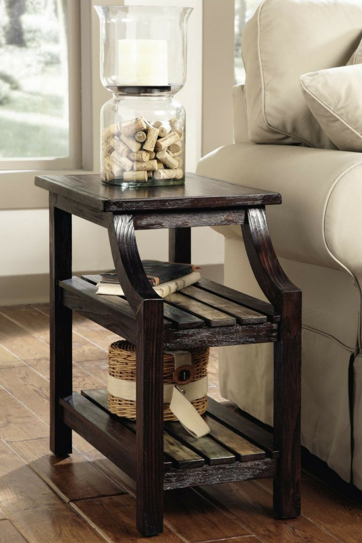 Mestler Chair Side End Table Rustic Brown Signature