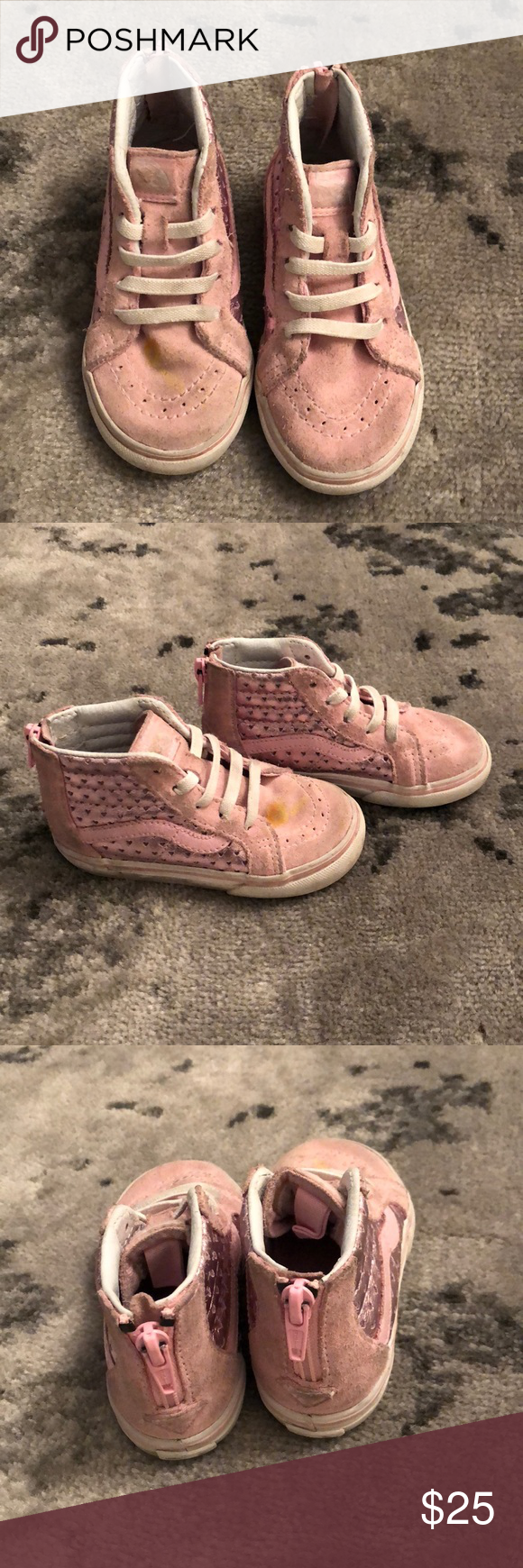 b0c4993313 Vans Pink Suede High Tops Toddler girls Vans Pink Suede high Tops. Metallic  pink on sides. White laces. Zip up back closure. Great condition
