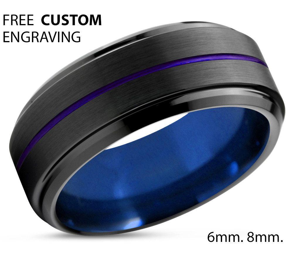 Tungsten Ring Mens Blue Black Purple Wedding Band Tungsten Ring
