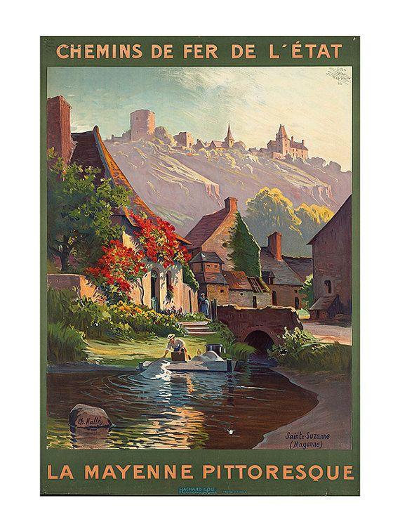 FRENCH TRAVEL POSTER Mayenne Travel Poster by EncorePrintSociety