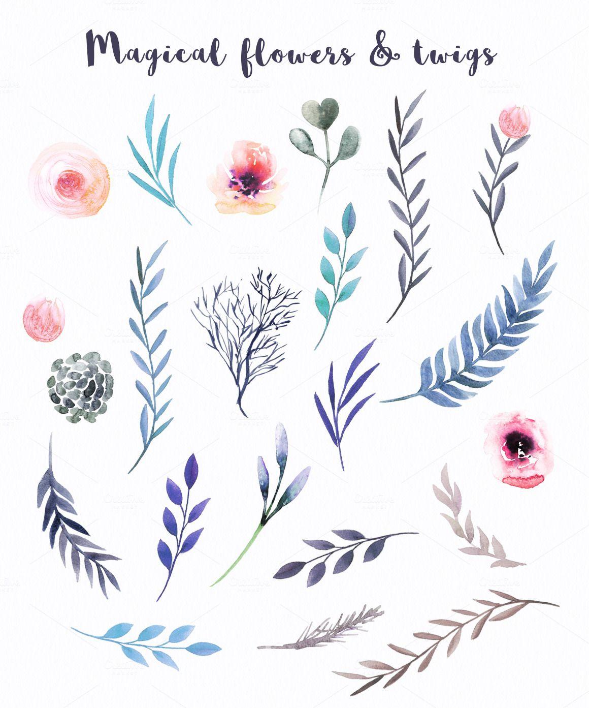 Watercolor Magic Flowers by Spasibenko Art on @creativemarket