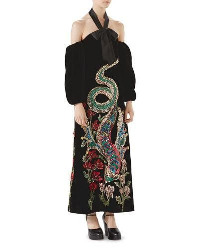66a744ace Gucci Sequin Embroidered Velvet Gown Velvet Gown