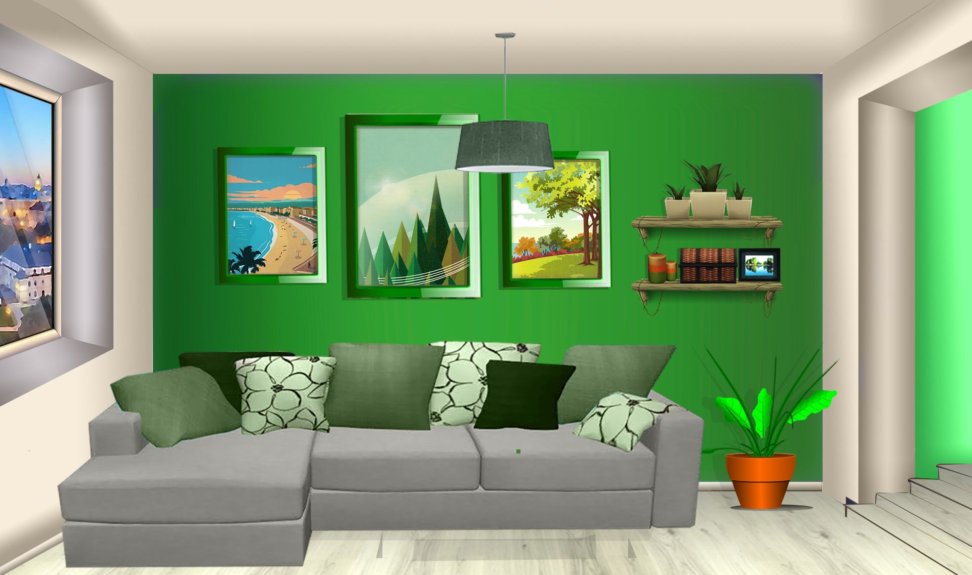Int Apartment Green Living Room Day Living Room Anime Living Room Background Living Room Anime Background Living room background png