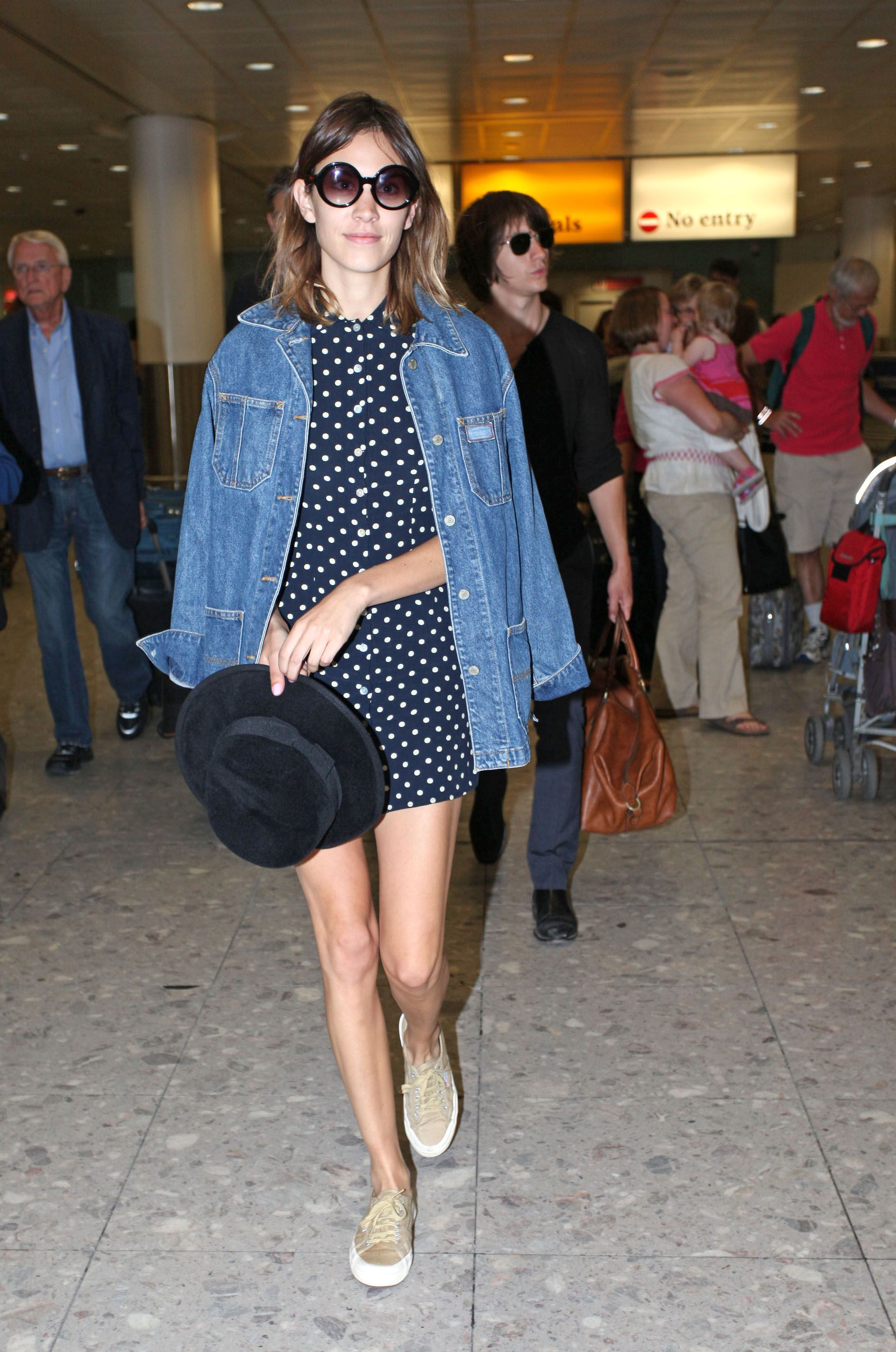 4bf6522314 What to Wear  With a Jean Jacket    Love Alexa Chung s oversized men s denim  jacket + mini polka dot dress