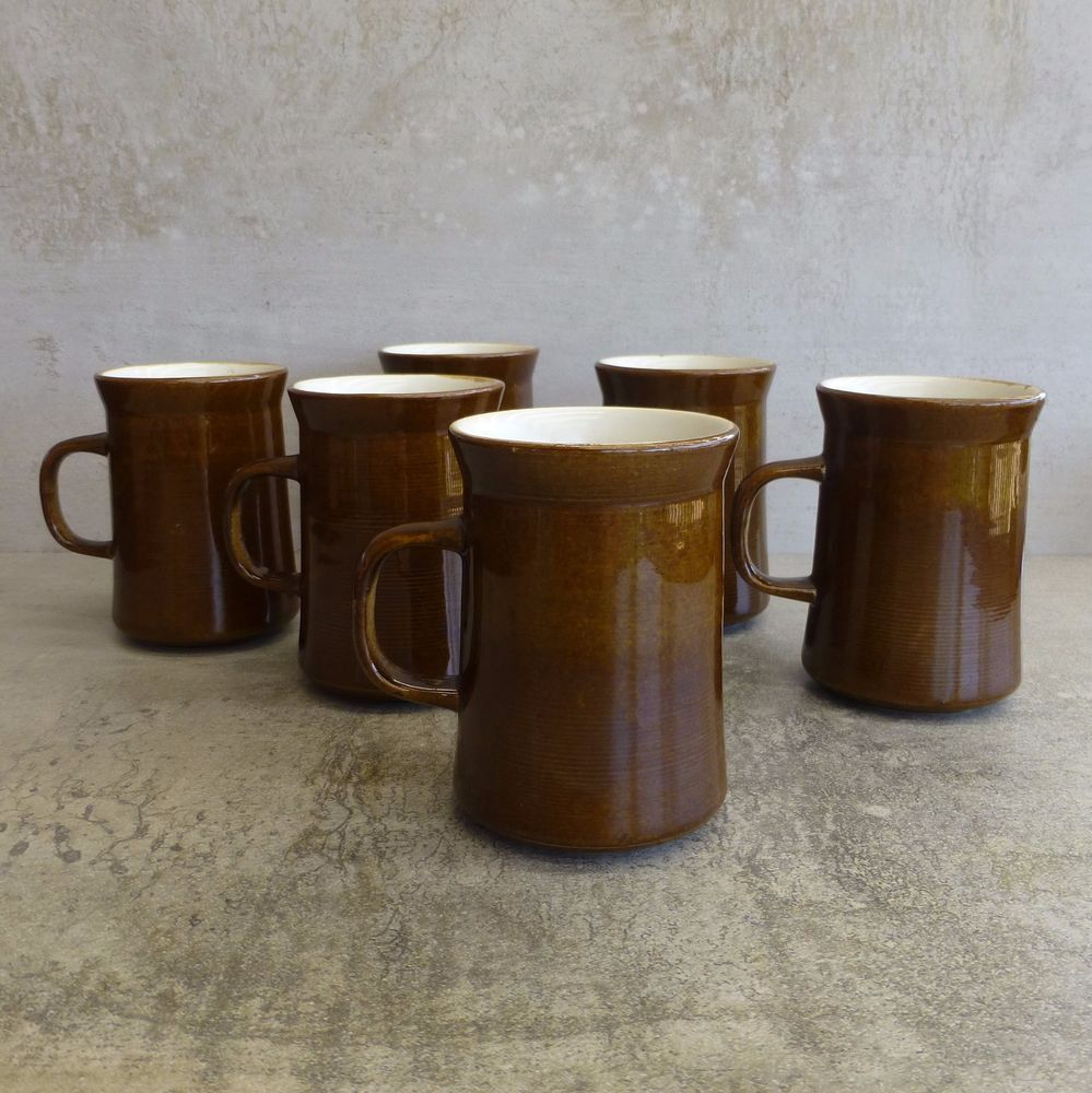 Vintage Temuka Stoneware Pottery Coffee Mugs made in New