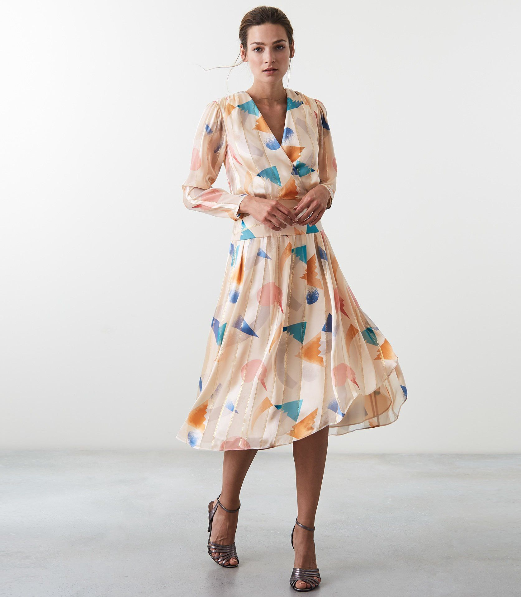 573160fd6f6f Reiss Melody Silk Metallic Fit And Flare Dress Neutral - 8