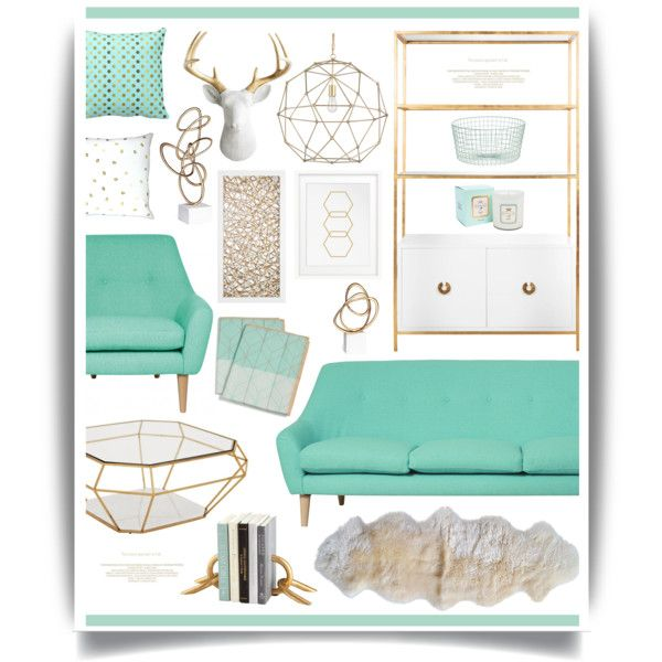 Mint N Gold By Hmb213 On Polyvore Featuring Interior Interiors Design