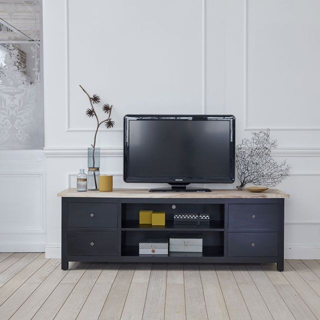 Meuble TV en bois d acajou et teck 180 LONDRES