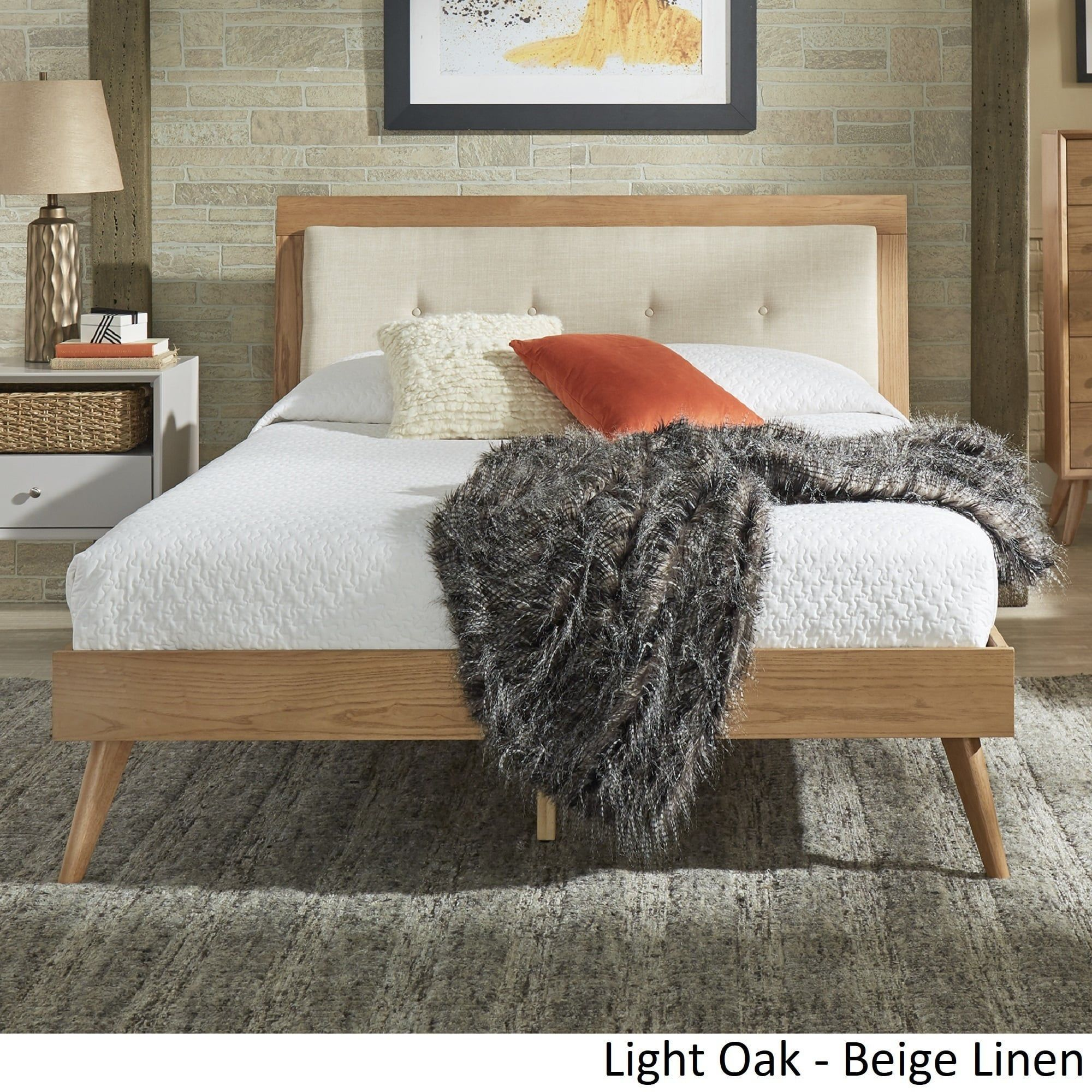 Sylvia Queen Size Mid-Century Tufted Linen and Wood Bed by iNSPIRE Q Modern  |