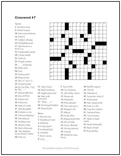 Free Printable Crossword Puzzle Free Printable Crossword Puzzles Crossword Printable Crossword Puzzles