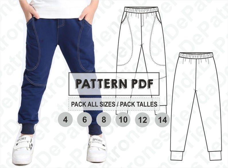 Pattern Kids Jogger Pants Jogging Pants For Children Sewing Pattern Digital Pattern Pdf Pack All Sizes 4 14 Instant Download Pantalones Para Ninos Patrones De Costura Pantalon Jogging