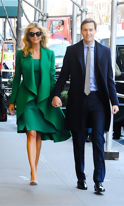 2f56f810825 Ivanka Trump wowed wearing a vibrant green coat and matching dress for her  trip to Maryland with her entire family.